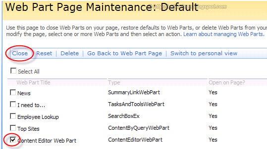 webpart maintenance page