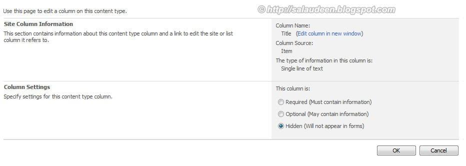 remove title column sharepoint list