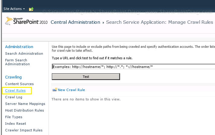 SharePoint 2010 Search Crawl Rules