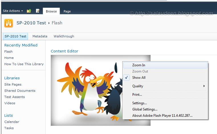 sharepoint 2010 embed flash swf