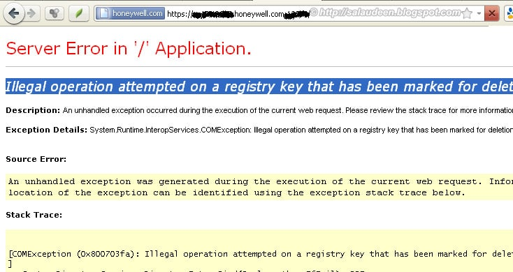 error illegal operation attempted on a registry key that has been marked for deletion