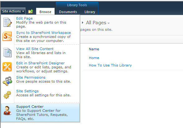 Add Custom Link to SharePoint Site Actions Menu