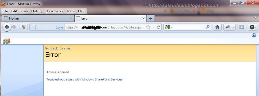 mysite access denied