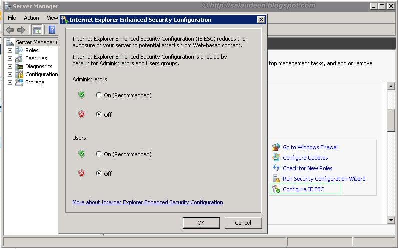 Configure Internet Explorer Enhanced Security - IE ESC