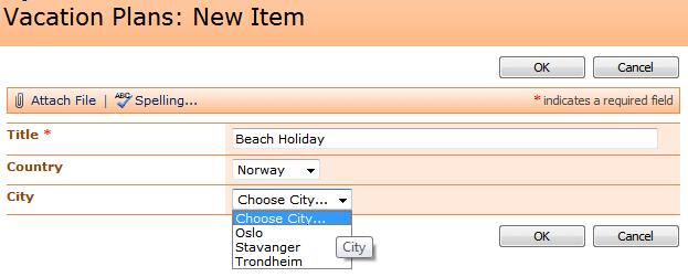 Cascading Drop down in SharePoint List Forms using jQuery