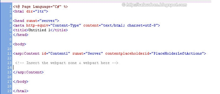 insert custom web part in master page