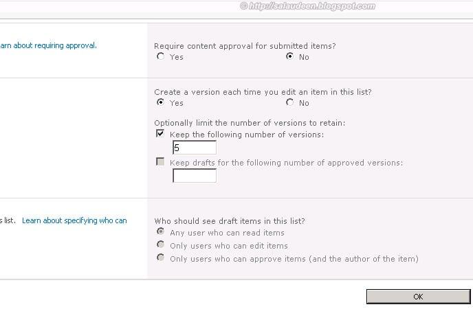 versioning dialog box