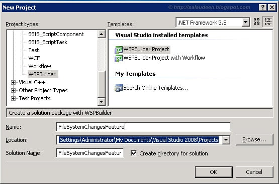 create new sharepoint project
