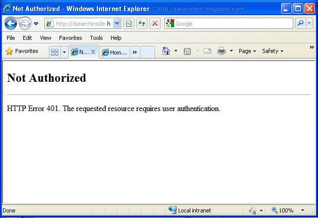 sharepoint 401 not authorized