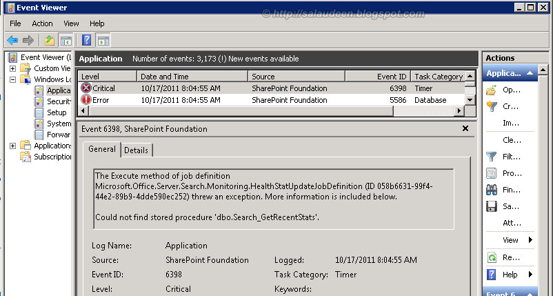 Could not find stored procedure 'dbo.Search_GetRecentStats'