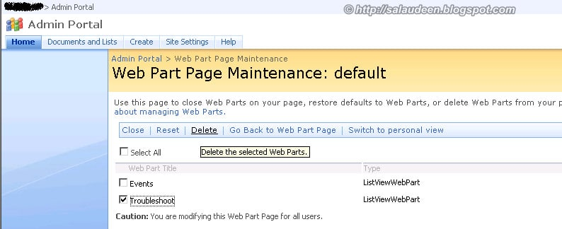 web part maintenance page