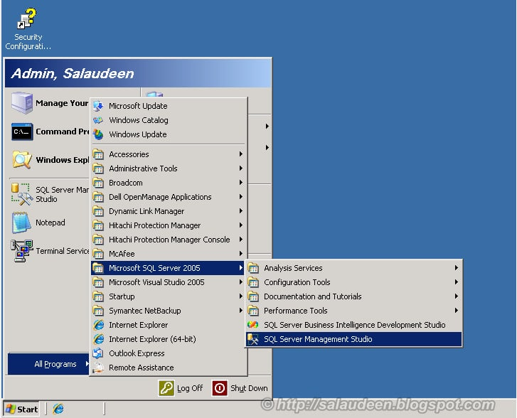 Take the Content Database Backup from MOSS 2007