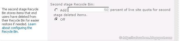 sharepoint 2010 recycle bin quota