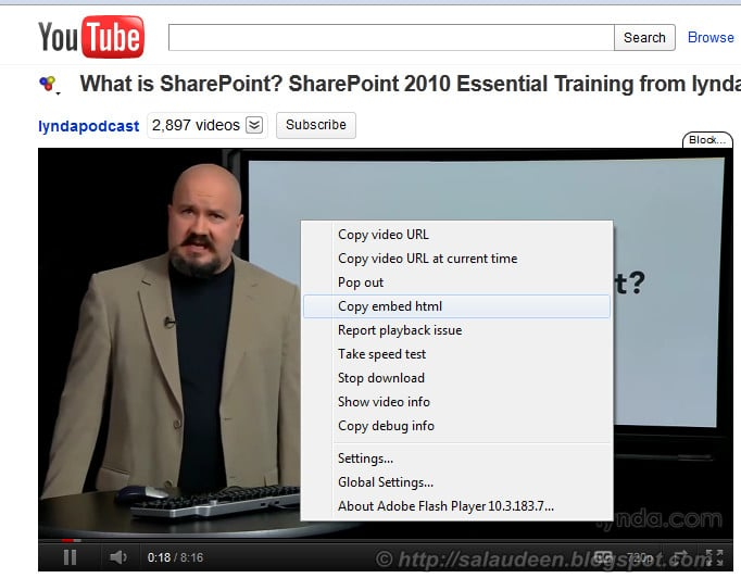 embed youtube in sharepoint