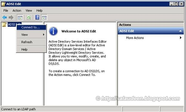 Connect to AD LDS Server using ADSI Edit