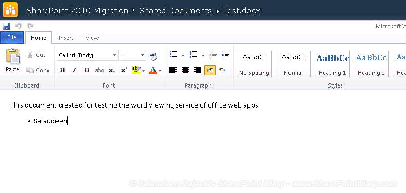 office web apps sharepoint 2010 document