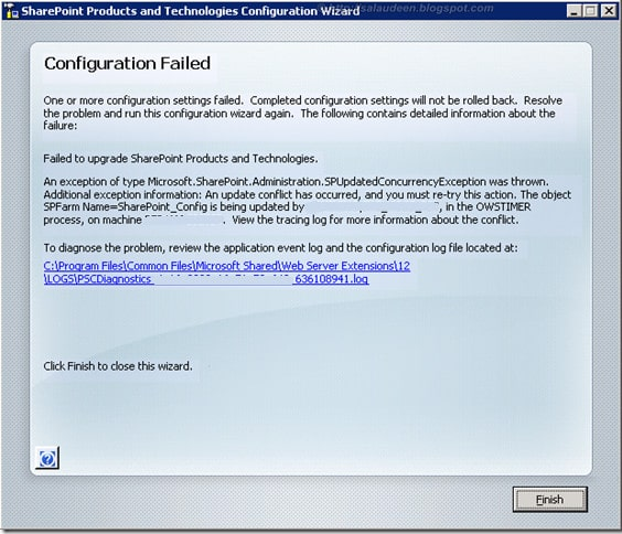PSConfig Wizard Configuration Failed: An Update Conflict has occurred. An exception of type Microsoft.SharePoint.Administration.SPUpdatedConcurrencyException was thrown