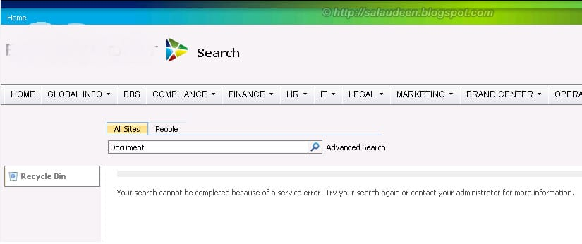 your search cannot be completed because of the service error