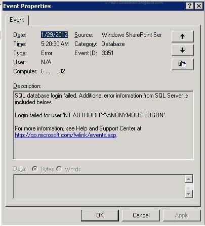 Event LOG 3351 sqlserver Database Login failed