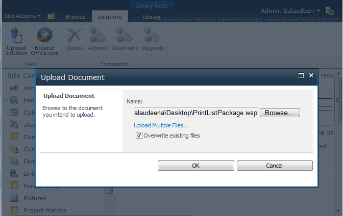 how to activate sandbox solution in sharepoint 2010