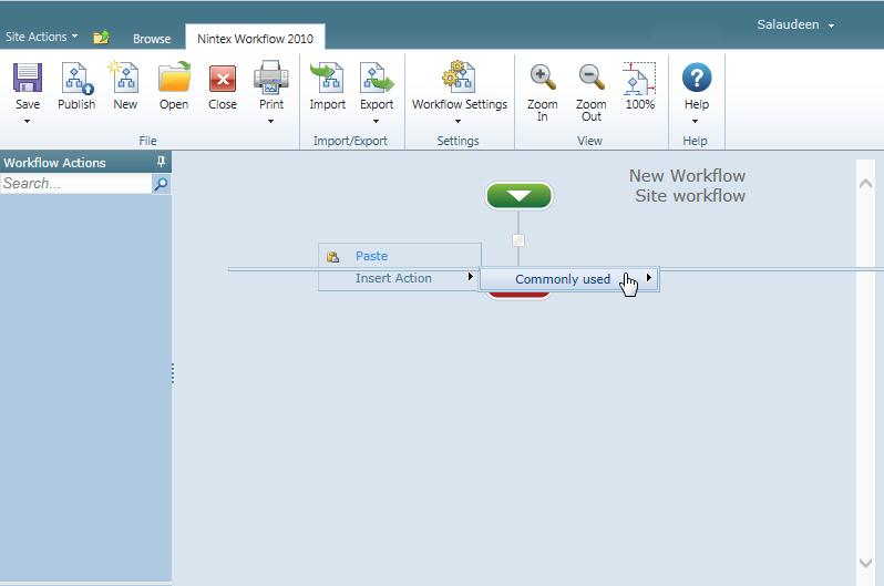 nintex workflow actions empty