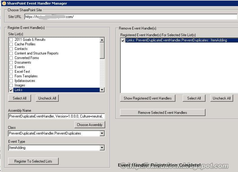 Event Handler Manager to Regiter Unregister Event Handler with SharePoint List or Library