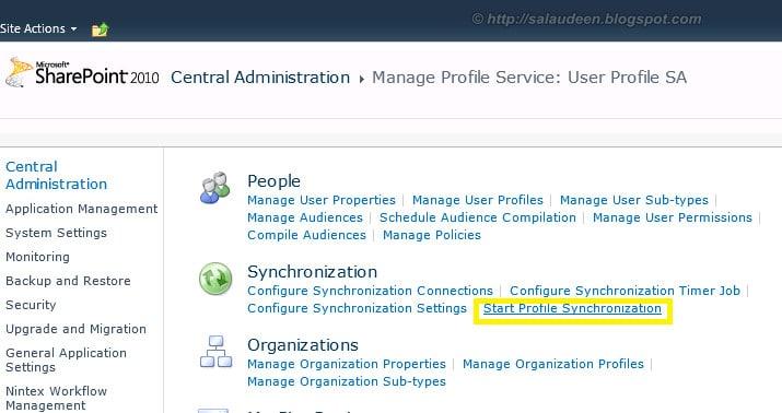 Start SharePoint Profile Synchronization