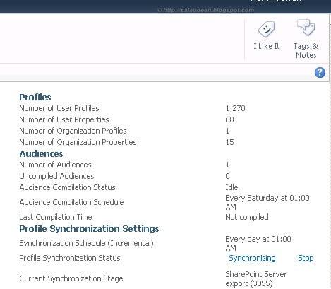 SharePoint Profile Synchronization in Progress