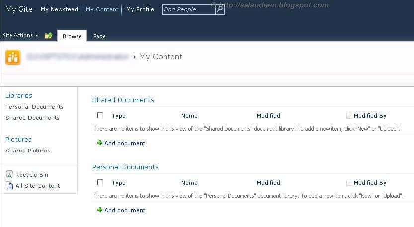 my sites sharepoint 2010
