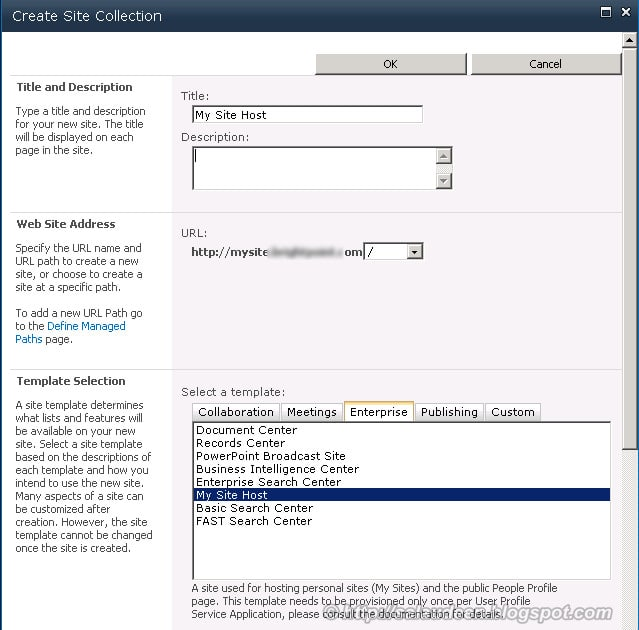 configure my site host sharepoint 2010