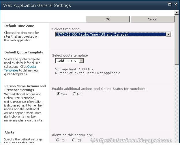 my sites sharepoint 2010 quota - Web Application General Settings