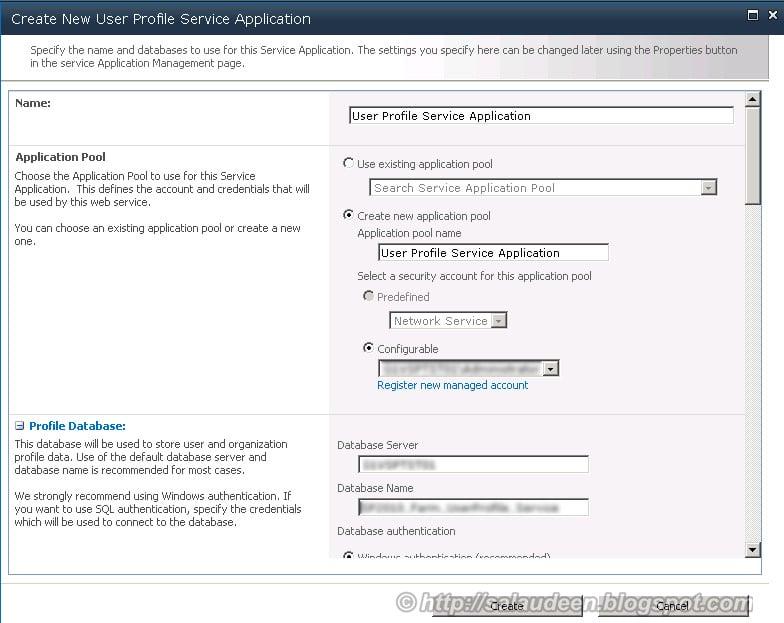 Create New User Profile Service Application
