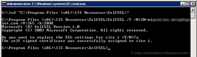 How to Create Self Signed SSL Certificate for sharepoint 2010