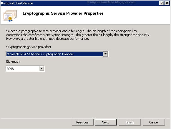 Certificate Request Bit length