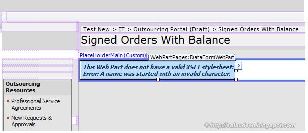 This web part does not have a valid XSLT stylesheet: Error: A name was started with an invalid character.