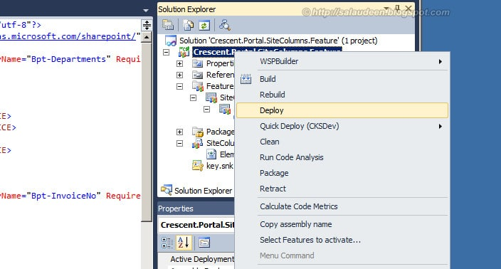 sharepoint deploy site column feature