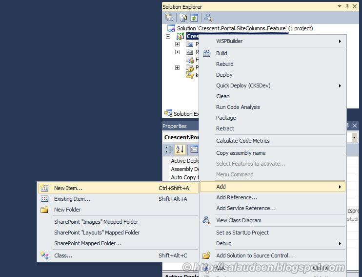 sharepoint create site column feature