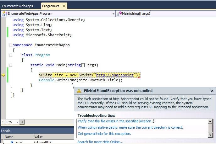 filenotfoundexception spsite