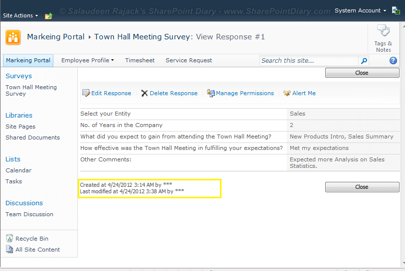 sharepoint 2010 survey remove created by