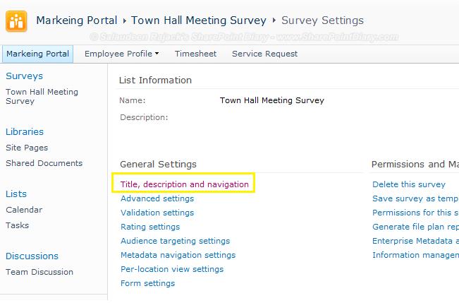 survey setting