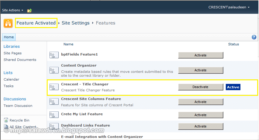 how to activate feature in sharepoint 2010