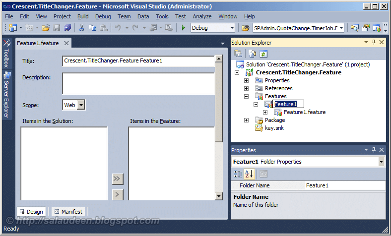 how to create a sharepoint feature in visual studio 2010