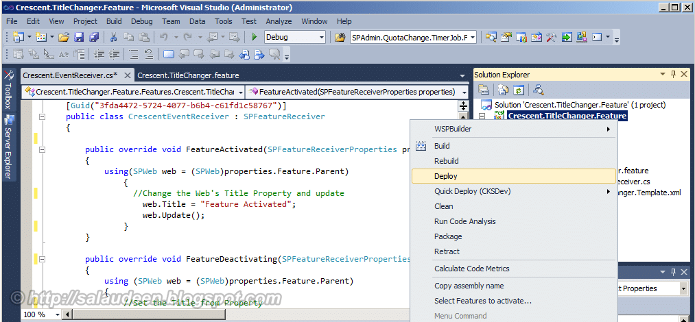 how to deploy a feature in sharepoint 2010