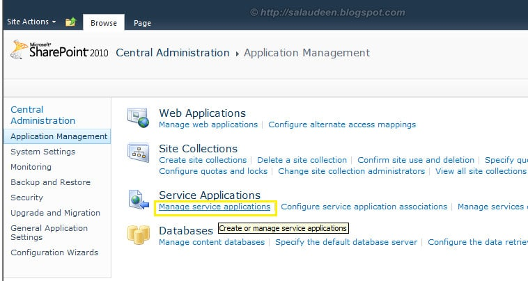 Manage Service Application Link in Central Admin