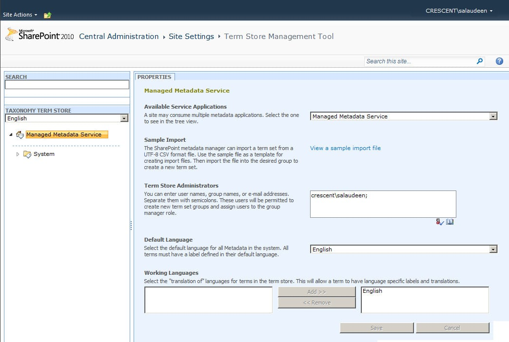 Managed metadata Term store Management