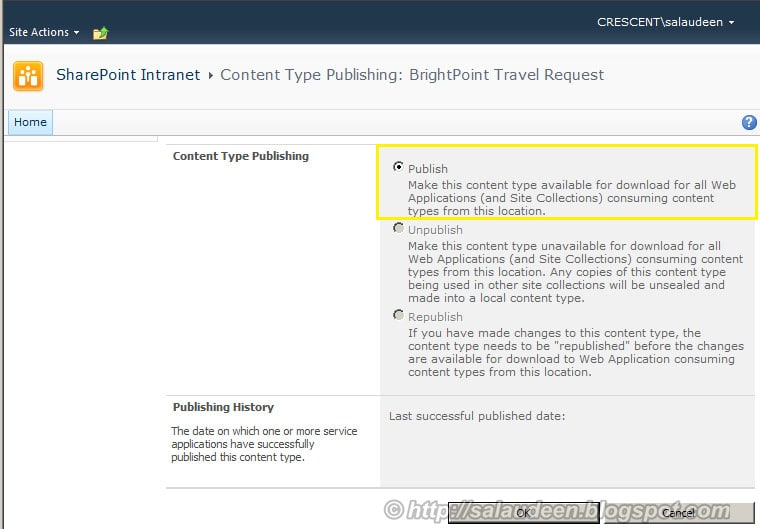 Publishing Content Type for SharePoint Managed Metadata Service