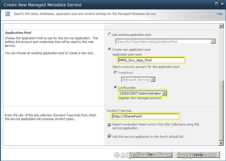Configure sharepoint 2010 managed metadata service account, Content Type hub