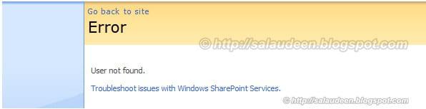 SharePoint user not found error