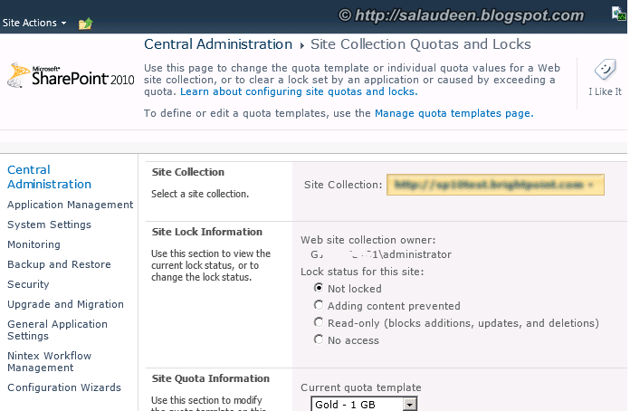Setting SharePoint 2010 Site Collection Quotas and locks