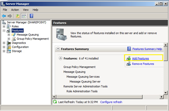 add feature in windows server manager